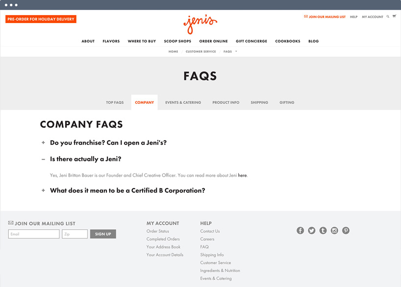 The FAQ page of BigCommerce client jenis.com.