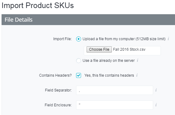 Import Product SKUs screen in the control panel