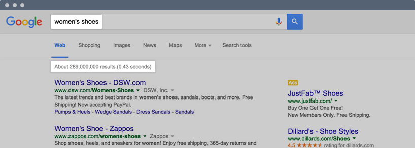 Google search of women's shoes.