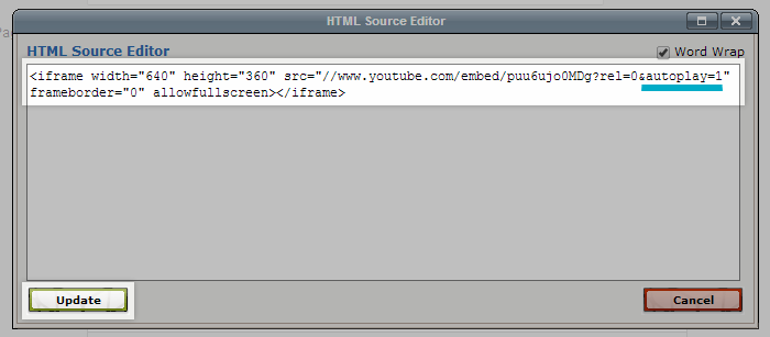 The HTML Source editor with the Update button in the lower left highlighted