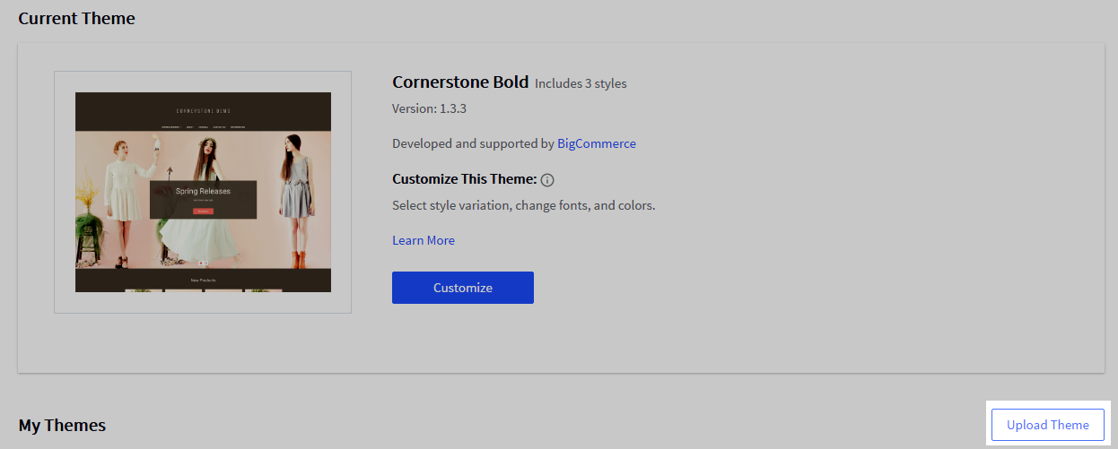 Upload Theme button at the top of the My Themes section
