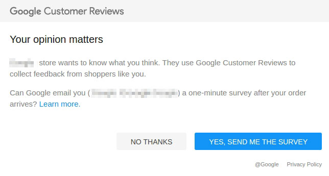 Google Customer Reviews survey modal