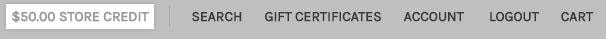 Store credit shown in the top menu bar