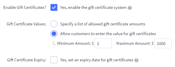 Using gift certificates bigcommerce support gift certificate settings negle Choice Image