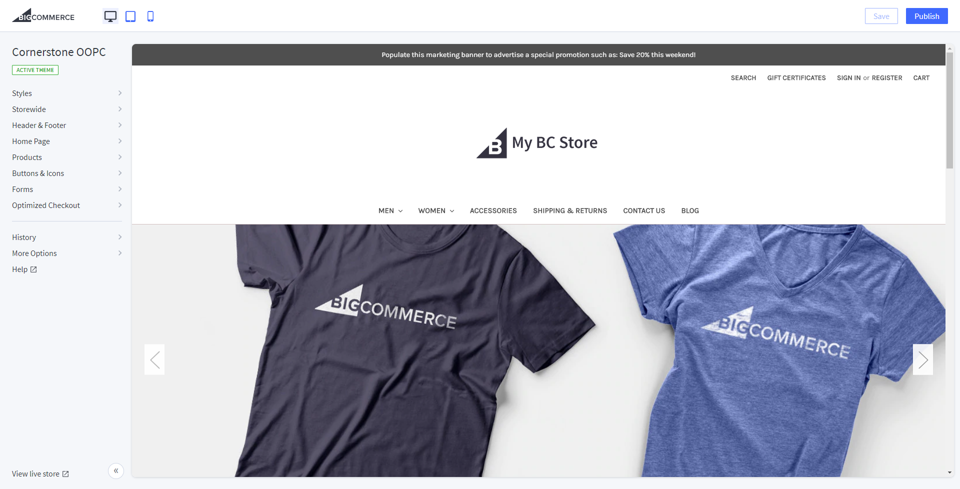 Store Design screenshot showing settings on the left and storefront preview on the right