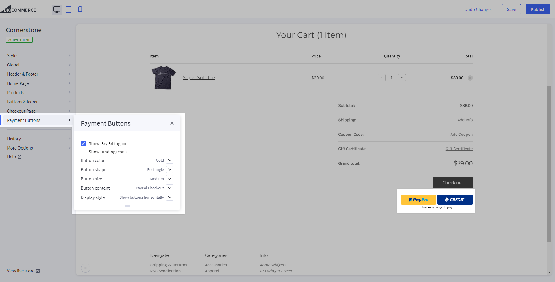 The Payment Buttons section and resulting preview highlighted in the Store Design editor