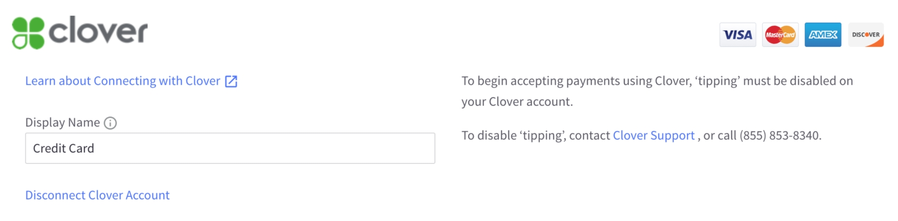Connecting with Clover Payments