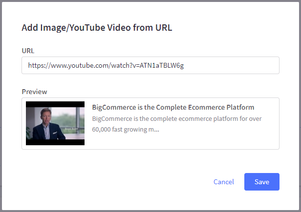 The Add Image/YouTube Video from URL