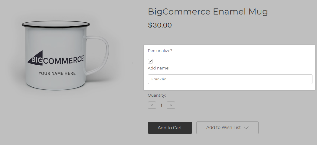 Screenshot of a product on the storefront with customization options for adding a personalized name