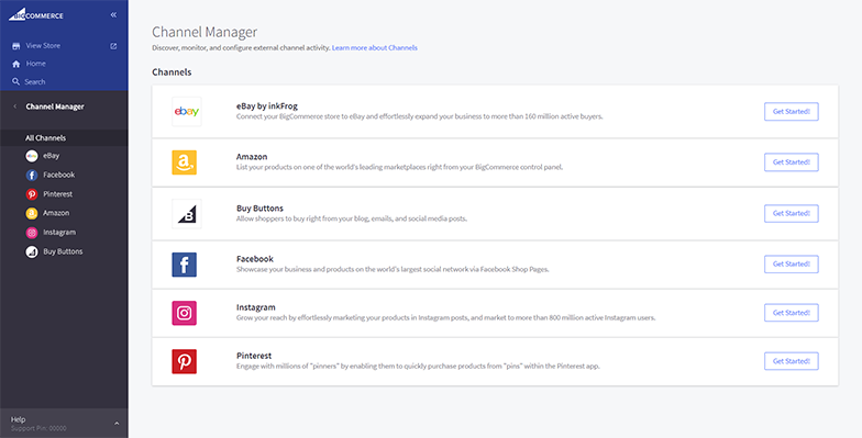 Channel Manager in the BigCommerce control panel