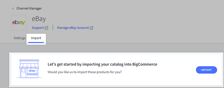 Import tab on the eBay Channel Manager page