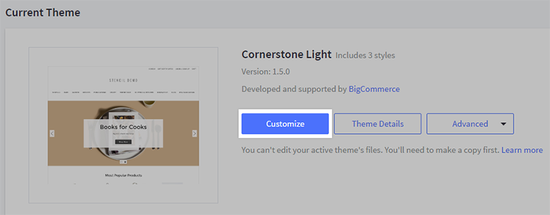 Customize button highlighted on the My Themes page