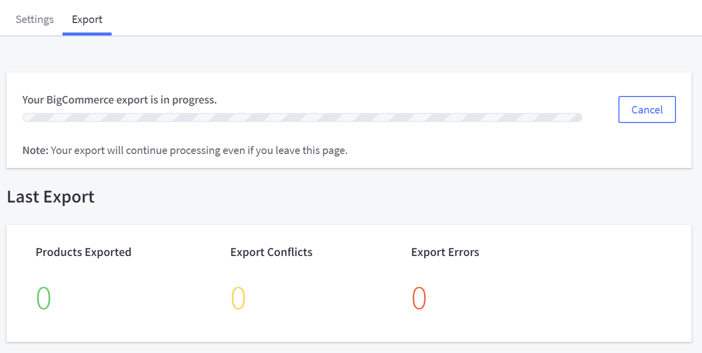 The Export tab in the Facebook Channel Manager page showing export progress and error report.