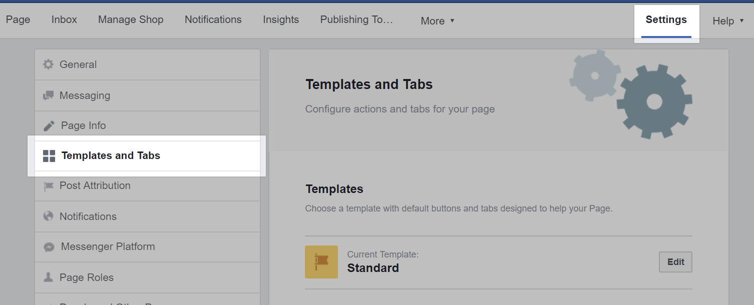 Settings and Templates and Tabs highlighted on a Facebook business settings page