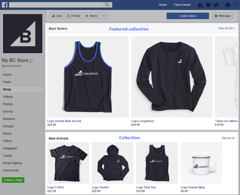 The Featured collection and a regular collection on a Facebook Shop page