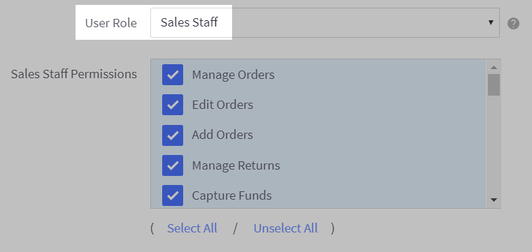 Select a User Role from the dropdown