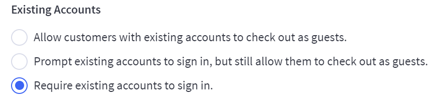 checkout settings for customers with existing accounts