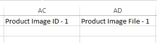 CSV showing Product Image Columns
