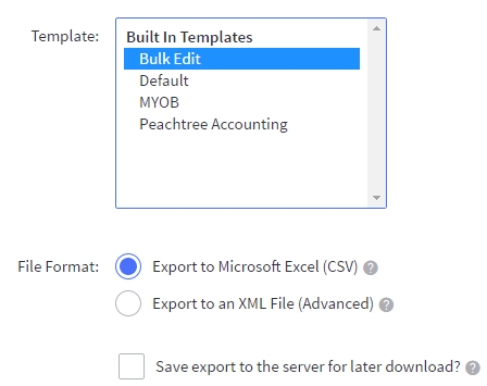 Export Products showing Export Templates and File Format Options