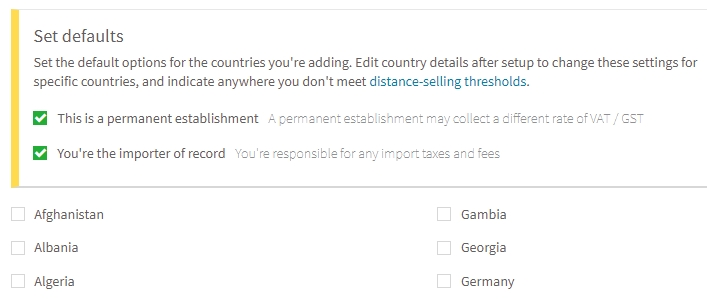 Add countries where you collect VAT / GST settings in the Avalara admin dashboard