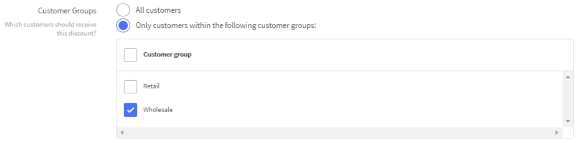 The customer group setting in the Automatic Promotions settings