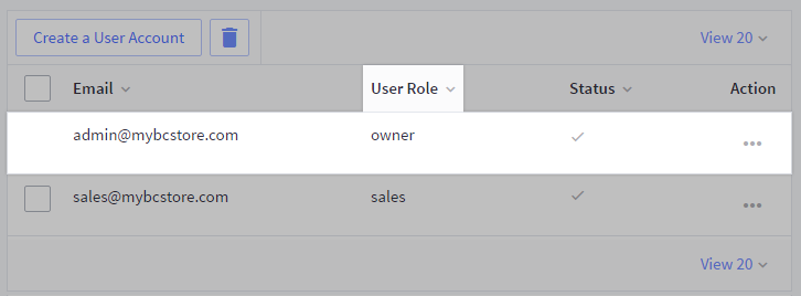 View users page with owner user role highlighted