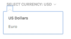 An example of how the currency selector appears on a Stencil storefront