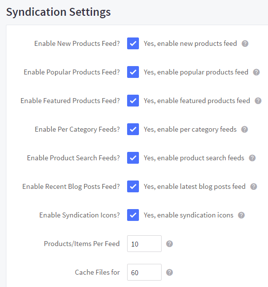 Syndication display settings