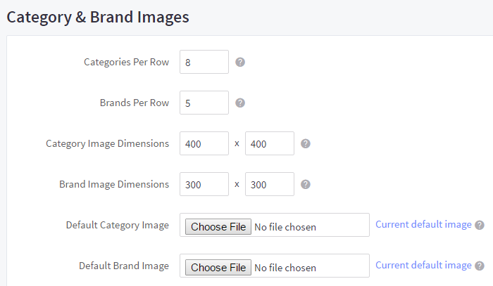 Category and brand image settings