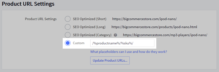 The Custom URL option toggle.