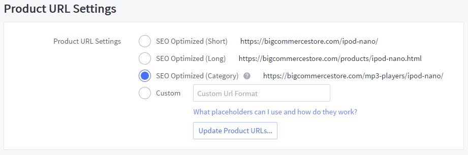 Product URL Settings