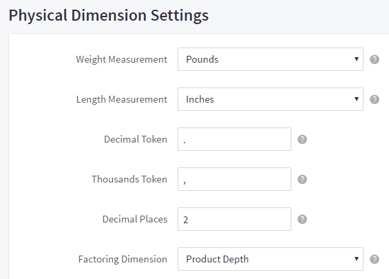 Physical dimension settings for weight and length, plus fields for decimal and thousands token, number of decimal places, and factoring dimension