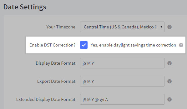 Check the box next to Enable DST Correction