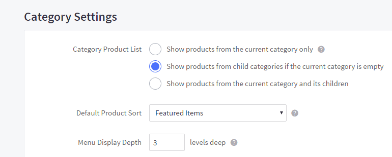 Category Settings section under the Display tab in Store Settings