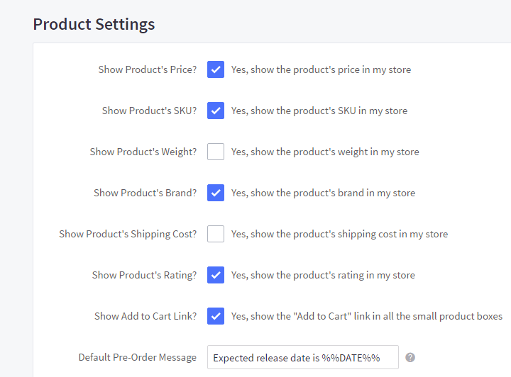 Product Settings section under the Display tab in Store Settings