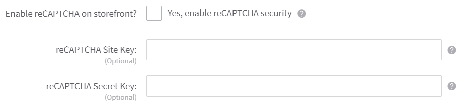 BigCommerce reCAPTCHA settings