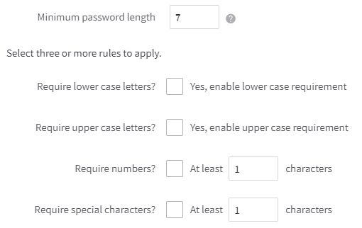 Password Complexity rules in the BigCommerce control panel
