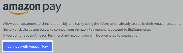 Amazon Pay Setting highlighting the Connect with Amazon Pay button