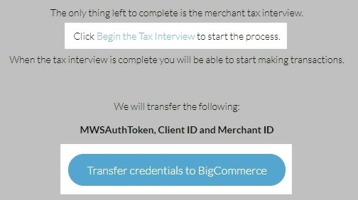 Amazon Transfer your credentials screen