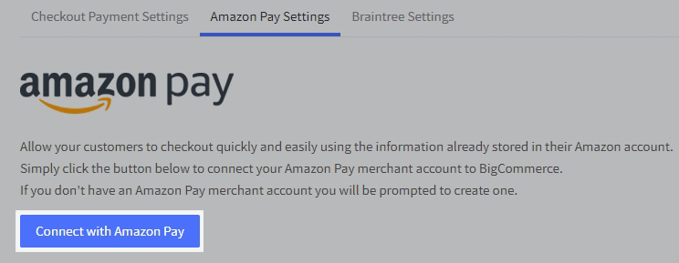 Amazon Pay settings with the Connect with Amazon Pay button highlighted