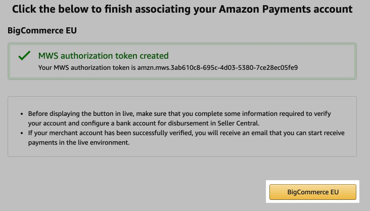 Last step in the Amazon Pay setup process