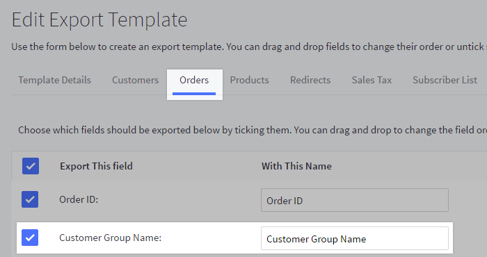 Customer Group Name field enabled in a custom export template