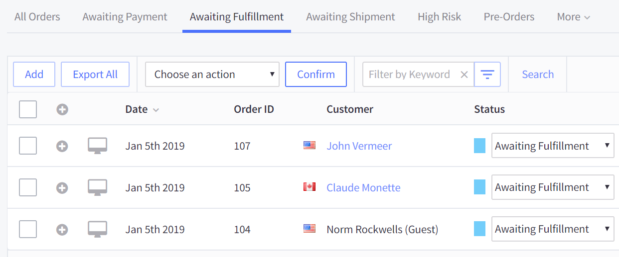 Awaiting Fulfillment tab on the View Orders page