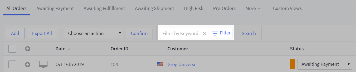 Filter by Keyword tool and Search button highlighted on the View Orders page