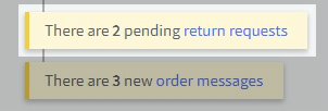 Dashboard notification highlighting a return request