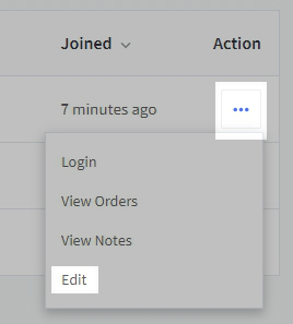 Action menu of a customer account with the Action maneu and Edit option highlighted