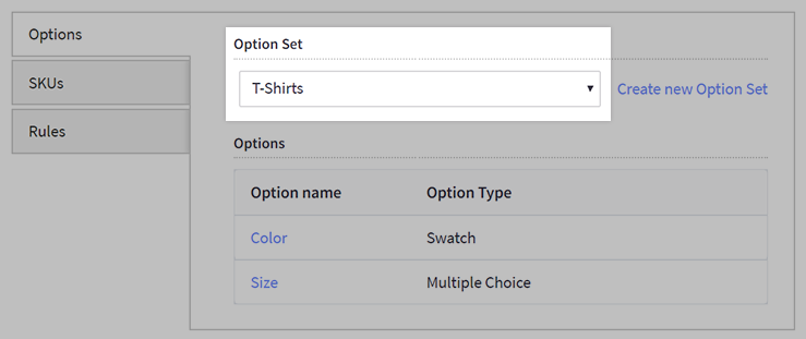 Applying an option set from the Add/Edit Product page