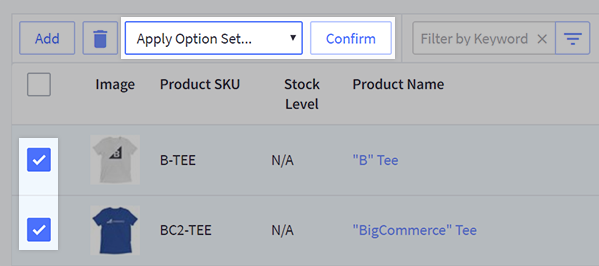 Applying an option set to multiple products at once from the View Products page
