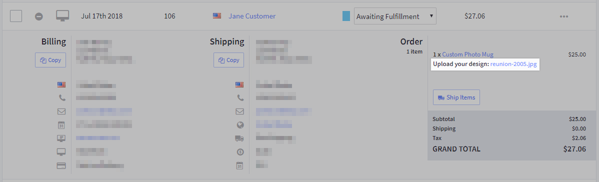 File uploaded by customer highlighted in the cart contents of an expanded order