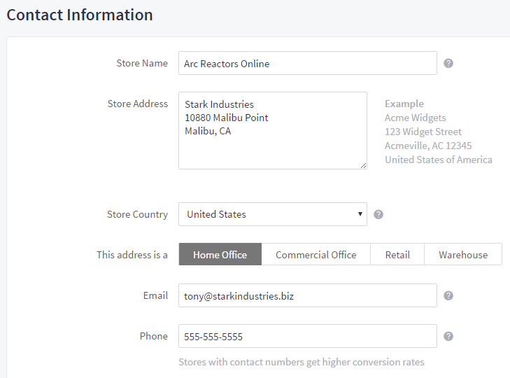 Contact Information in Store Profile Settings